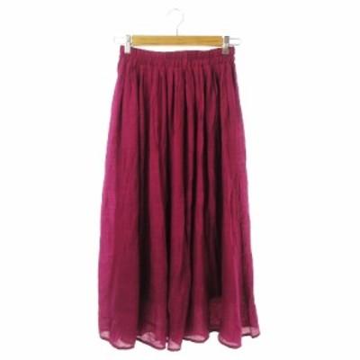 【中古】ソウルベリー soulberry スカート ギャザー ロング S 赤紫 モーブ /CK8 ★ レディース