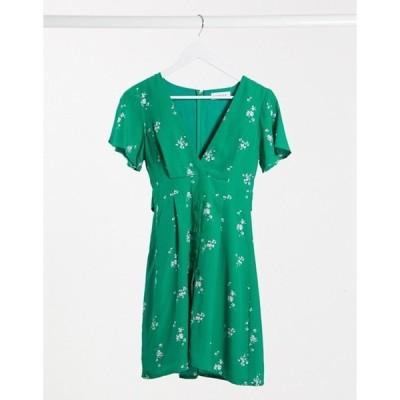 ジリ レディース ワンピース トップス Gilli button down tea dress in green floral