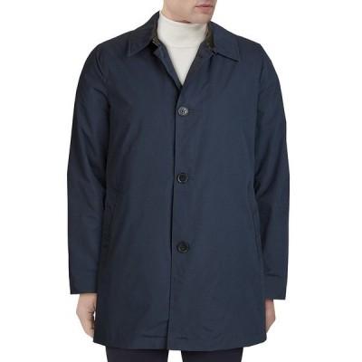 コールハーン メンズ ジャケット&ブルゾン アウター Welt-Pocket Collared Button Front Rain Coat Navy