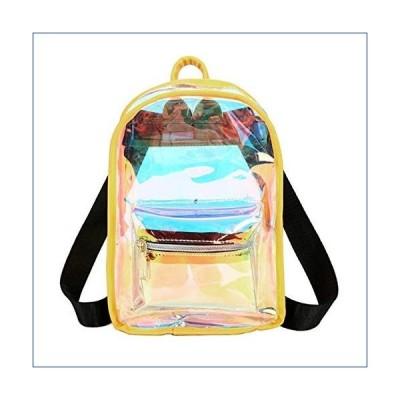 Jascaela Clear Hologram Mini Backpack Waterproof PVC Shoulder Bag Casual Travel Daypack for Women Girls (Yellow) 並行輸入品