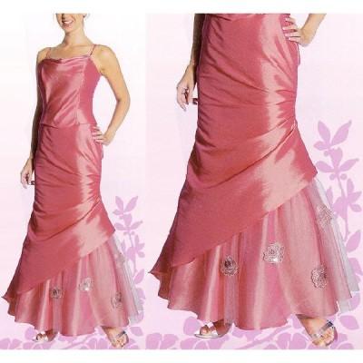 フォーマルドレス [裾切り替え・薔薇モチーフ付きマーメイドラインドレス] パニエ付き MY-012