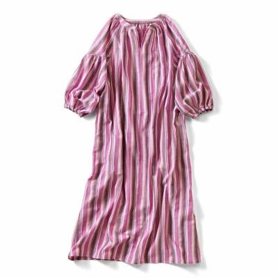 先染めマルチストライプのダブルガーゼロングドレス〈ピンク〉 IEDIT[イディット] フェリシモ FELISSIMO