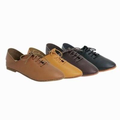 フラットシューズ レディースシューズ レディースファッション 靴 手染め レースアップ ナチュラル ぺたんこ やわらか 上質合皮