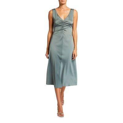 ヴィンス レディース ワンピース トップス Ruched Double V-Neck Sleeveless Dress