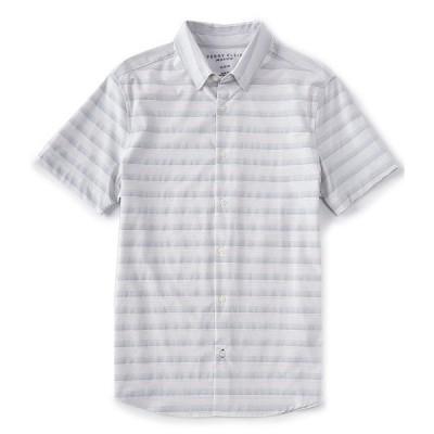ペリーエリス メンズ シャツ トップス Slim-Fit Stripe Performance Stretch Short-Sleeve Woven Shirt Bright White