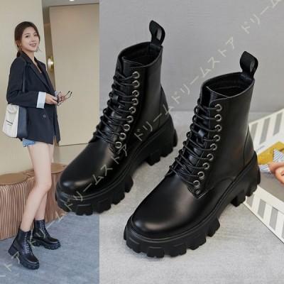 ブーツ 大きいサイズ レディース ショートブーツ 編み上げブーツ マーティンブーツ 幅広 甲高 ワイズ ファスナー ミドルヒール 履きやすい レースアップ 黒