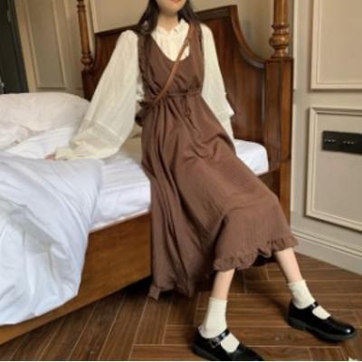 韓国 ファッション レディース ジャンパースカート ロング ハイウエスト フレア フリル ゆったり レトロ ガーリー カジュアル 秋冬