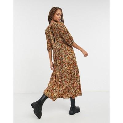 エイソス レディース ワンピース トップス ASOS DESIGN plisse v neck maxi dress with tiered hem with long sleeves in fall floral Fall print