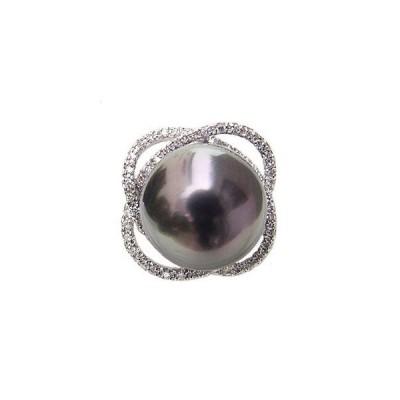 パール リング レディース 真珠リング 指輪 タヒチ黒蝶ダイヤモンド グリーン系 15mm 18金 k18 ホワイトゴールド フォーマル プレゼント ギフト 人気