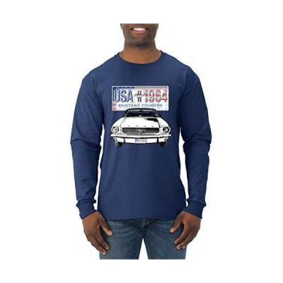 Ford Mustang Country USA 1964 Vintage American License Plate | Mens Cars and Trucks Long Sleeve T-Shirt, Navy, X-Large