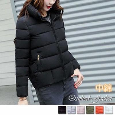 中綿 キルティング ジャケット レディース スタンドカラー アウター ショート丈 即納 ブラック/ワンサイズ