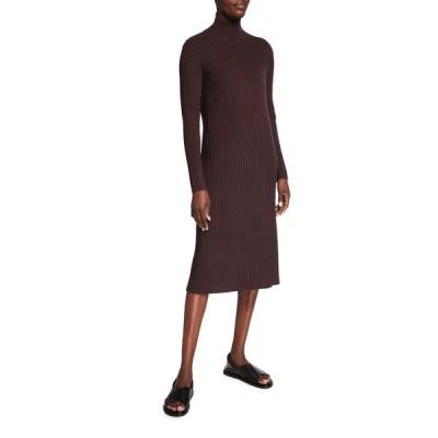 エイリーンフィッシャー レディース ワンピース トップス Straight Scrunch-Neck Long Sleeve Ribbed Dress