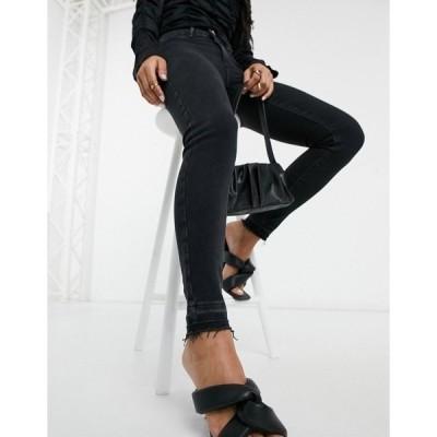 リバーアイランド レディース デニムパンツ ボトムス River Island Molly raw hem skinny jeans in washed black Washed blk