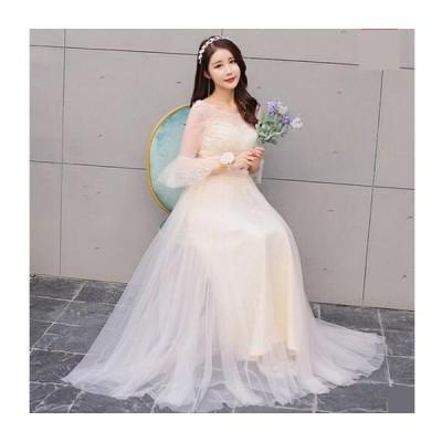 6色入 素敵ブライダル長い ワンピース大きいサイズ  プリンセスライン 結婚式 ブライダル 花嫁 ウェディングドレス 二次会 パーティードレス ウエディングドレス