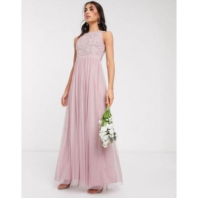ビュート ミディドレス レディース Beauut embellished maxi dress with pleated skirt in light pink エイソス ASOS ピンク