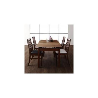 天然木ウォールナット材 ハイバックチェア ダイニング Austin オースティン 5点セット(テーブル+チェア4脚) W140-240