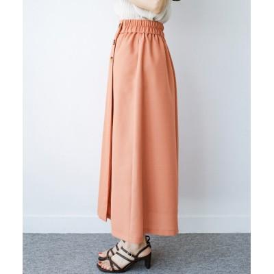 【ハコ】 これさえあればきれいなお姉さんになれそうな気がする 麻調素材のきれいめラップ風スカート レディース オレンジ M haco!