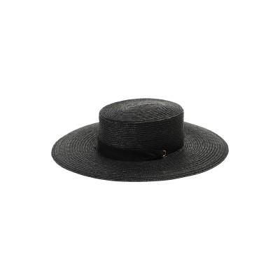 MONTEGALLO 帽子 ブラック M ストロー 100% 帽子