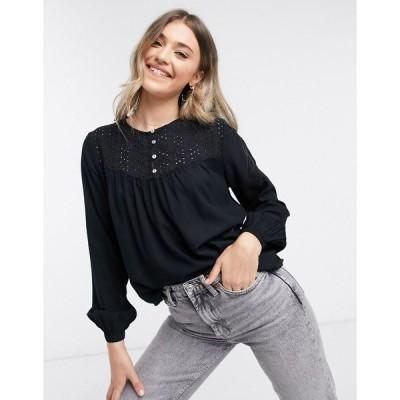 ジェイディーワイ レディース シャツ トップス JDY tylie button detail blouse in black Black