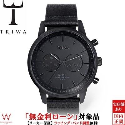 トートバッグ付 無金利ローン可 トリワ TRIWA ナイトネビル NIGHT NEVIL NEST127-CL010101P クロノグラフ 革バンド ブラック メンズ 腕時計