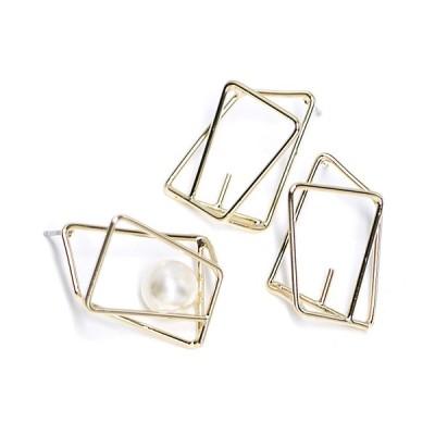 【1ペア】左右&ピートン&チタン芯!立体的な長方形シルバーピアス製作パーツ