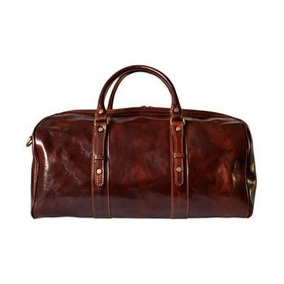 PASQUALE CUTARELLI Mens Holdall Italian Leather Travel Bag Overnight Chestnut 並行輸入品