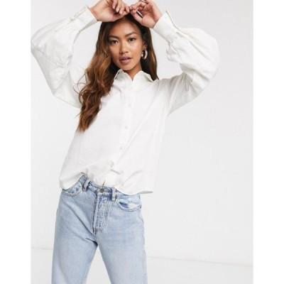 ピーシーズ レディース シャツ トップス Pieces Shirt with balloon sleeves in white cord