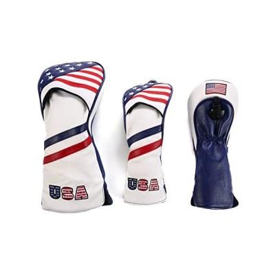 ゴルフカバー ヘッドカバー ドライバー/ウッド FW 2点 3個セット ウッドカバー 高級pu革 防水 変換ダグ付き (USA Flag)