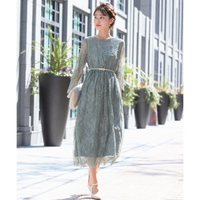 ドレス ヴィンテージ風配色レースIラインドレス