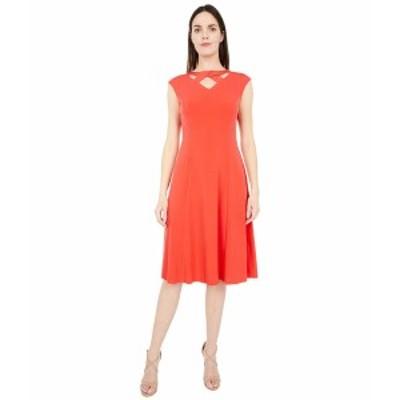 ロンドンタイムス レディース ワンピース トップス Solid Jersey Fit-and-Flare Dress with Neck Details Coral