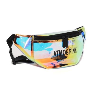 アトモス ピンク atmos pink atmos pink ホログラム ウエストポーチ (BLACK)
