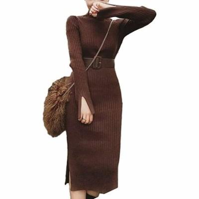 ニットワンピース ガーリー プルオーバー ヒザ カラー レディース 女性用 ミセス レディス(ブラウン  XL)