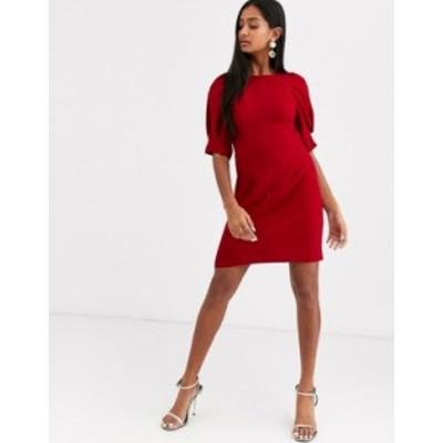 エイソス レディース ワンピース トップス ASOS DESIGN mini shift dress Deep red