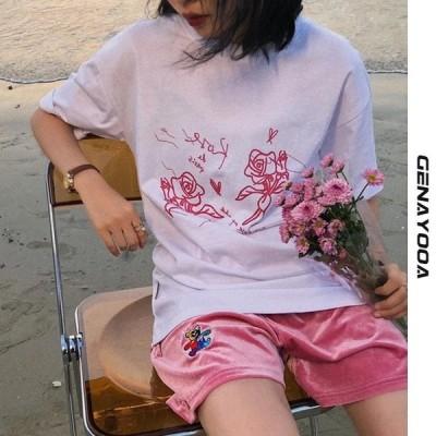 海外輸入アパレル GenayooaプリントレディースTシャツ2021夏韓国トップス原宿Tシャツレディースコットン半袖OネックTシャツファム Genay
