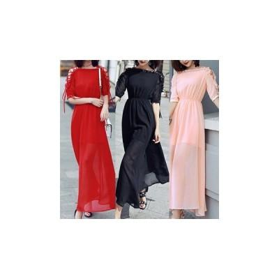 ドレス 五分袖 ロング セクシー エレガント 可愛い 上品 大人 結婚式 二次会 fe-1147