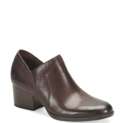 ボーン レディース ブーツ&レインブーツ シューズ Caley Leather Block Heel Ankle Shooties Dark Brown