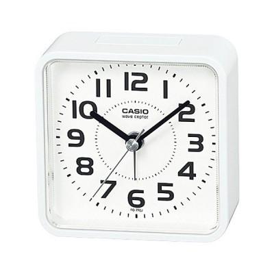 (カシオ)CASIO 電波目覚まし時計 TQ-770J-7JF ホワイト 置時計 アナログ シンプル フラット(電波時計/クロック)