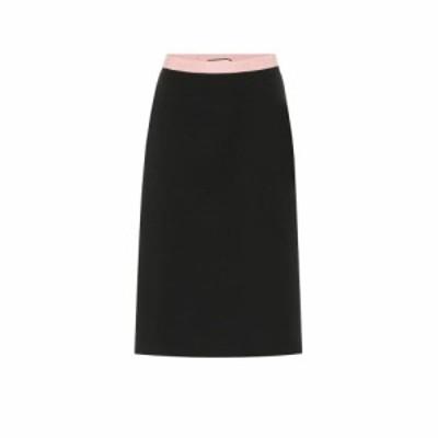 グッチ Gucci レディース ひざ丈スカート スカート Wool-blend jersey midi skirt Black/Mix