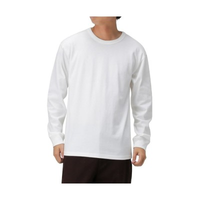 (MAC HOUSE(men)/マックハウス メンズ)Navy ネイビー オーガニックコットン100%ヘビー天竺ロングスリーブTシャツ MH/03659SS/メンズ ホワイト