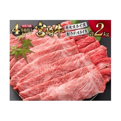 I13-191 <肉質等級4等級以上>宮崎牛モモ&肩[ウデ]スライスセット(合計2kg)