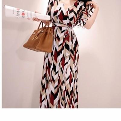 ワンピース マキシ丈ワンピースパーティードレス ドレス大きいサイズ ワンピースレディースプリントVネックパーティータイトワンピセクシ