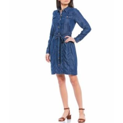 カルバンクライン レディース ワンピース トップス Long Sleeve Tie Waist Button Front Denim Shirt Dress Blue