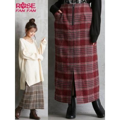 【大きいサイズ】チェックロングタイトスカート(ローズファンファン) 大きいサイズ スカート レディース