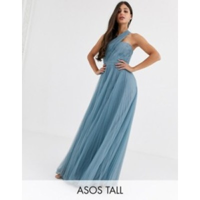 エイソス レディース ワンピース トップス ASOS DESIGN Tall one shoulder tulle wired hem maxi dress Dusty blue