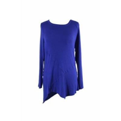ファッション トップス Inc International Concepts Blue Ribbed Asymetrical Tunic L