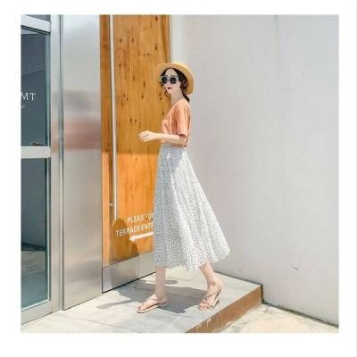 スカート ロングスカート ドット 柄 ホワイト ブラック アプリコット フレア 透け感 夏 涼しげ 着やすい 大人 可愛い フェミニン デート 女子会