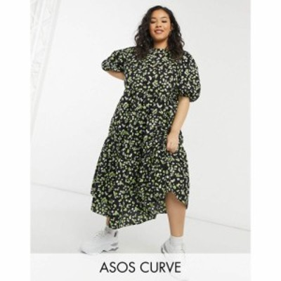 エイソス ASOS Curve レディース ワンピース ティアードドレス ワンピース・ドレス Asos Design Curve Tiered Cotton Smock Midi Dress I