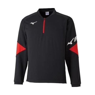 ミズノ(MIZUNO) メンズ レディース テニスウェア ライトスウェットシャツ ハーフジップ ブラック×レッド 62JC0510 09 テニス 長袖 スウェット ウェア