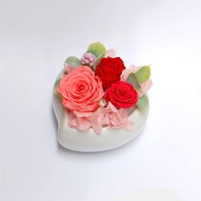 プリザーブドフラワー ギフト  ご結婚祝い ご出産祝い お誕生日 記念日 退職祝い プレゼント 贈り物 ケース入り ハートポット(ピンク)