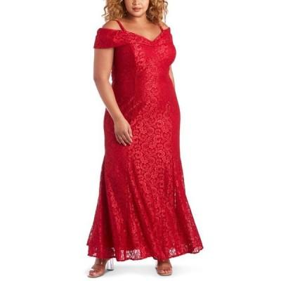 アールアンドエムリチャーズ レディース ワンピース トップス Plus Size Off-The-Shoulder Lace Gown